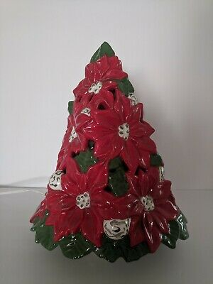 Vintage Lighted Ceramic Poinsettia Christmas Tree 13 Inches