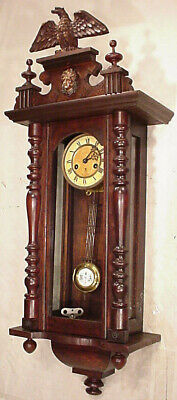 FABULOUS ANTIQUE nut GUSTAV BECKER WALL CLOCK REGULATOR 8 DAY 1910 EAGLE SELISIA