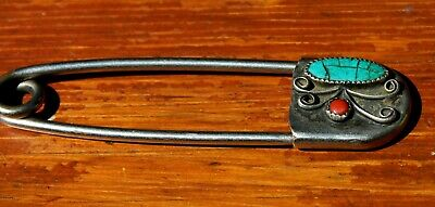 Risdon Key Tag Giant Safety Pin Keychain Southwest Turquoise & Coral