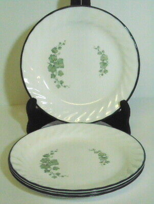 """Corelle Callaway Green Ivy - 4 Salad or Luncheon Plates - 7-1/4"""" - White Swirl"""