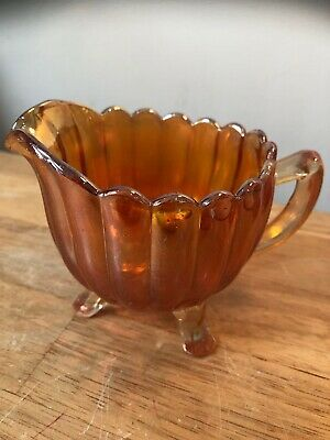 Antique Carnival Glass Creamer Jug Ribbed Design 3 Footed Orange Lustre