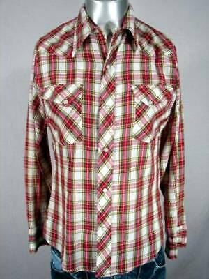 HG2450 VINTAGE 1970s RED PLAID WESTERN PEARLSNAP COWBOY SHIRT - 39