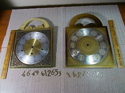 LOT OF 2 1980's NEW OLD STOCK METAL MOON DIAL GRANDFATHER CLOCK FACES, HERMLE?,