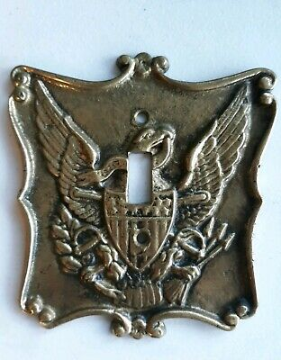 Vintage Brass Metal Single Light Switch Cover Plate with Eagle Americana Lot# 1