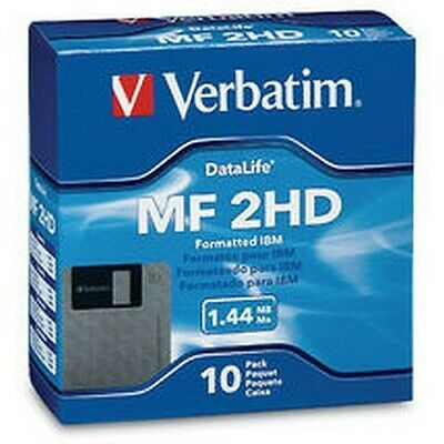"MF2-HD Floppy Disk 3.5"" 1.44mb 10 pack Verbatim 87410"
