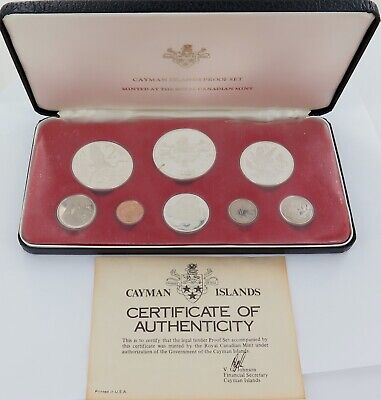 1975 Cayman Islands 8 Coin Proof Set + Coa + Outer Sleeve.