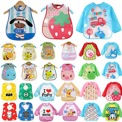 Baby Toddler Infant Kid Waterproof Feeding Burp Art Apron Bib Smock Saliva Towel