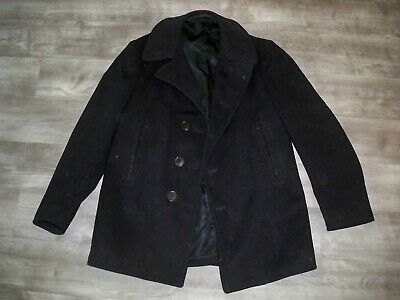 Vintage WWII WW2 US Navy USN Naval Clothing Pea Coat Men's Size 38 Cord Pockets