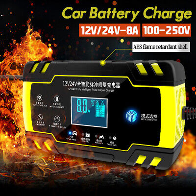 12V/24V 8A Car Battery Charger Fully Intelligent Pulse Repair Lead Acid Starter