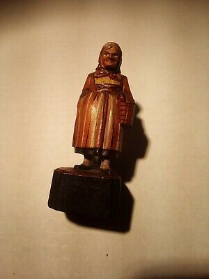 Vintage HAND CARVED WOOD FIGURE Peasant Woman With Hand In Pocket & Basket