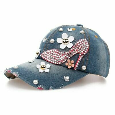 Baseball Cap for Women and Teen Girls Fashion Distressed Rhinestones Jean Cotton