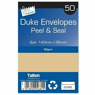 Pack of 30 Tallon Just Stationery C5 Peel /& Seal White Envelopes