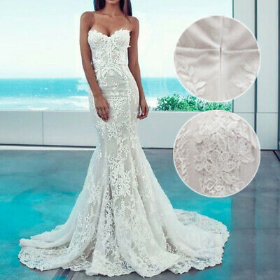 Women's Evening Strapless Dress Sexy Long Lace Slim Wedding Party Maxi Bodycon