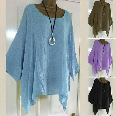 Plus Size Autumn Women Long Sleeve Blouse Linen Kaftan Baggy Top Tunic T Shirt A
