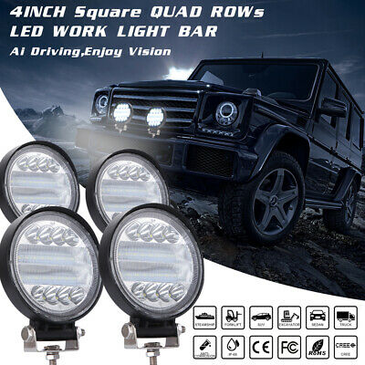"4"" 72W Round LED Work Spot Light Bar Flood Driving Car Truck Offroad Fog Lamp"