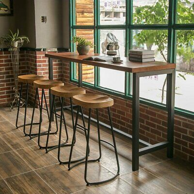 Set of 1/2/4 Wooden Industrial Bar Stools & Kitchen Breakfast High Chair Seat y5