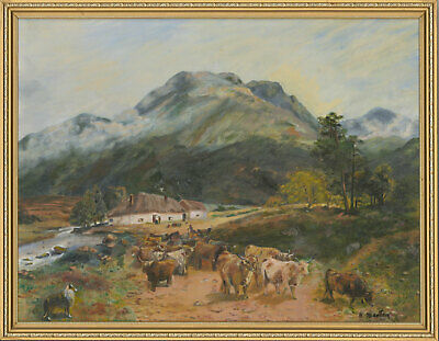 H. Marten - Signed & Framed Contemporary Oil, Highland Landscape with Cattle