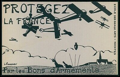 airplane Protect France war bonds WWII ww2 anti nazi original 1940s postcard