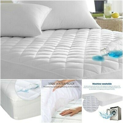 100%Cotton Waterproof Quilted Mattress Protector Fitted Sheet Single Double King
