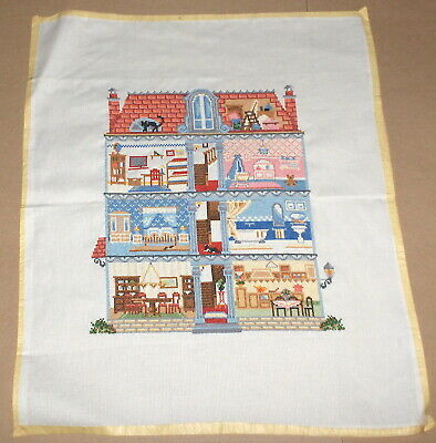 "Vervaco ""Dollhouse"" w/ Cat on Roof FINISHED Cross Stitch"