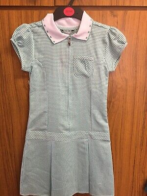 Marks And Spencer M&S Girls Gingham Green  Summer School Dress 8-9 Years