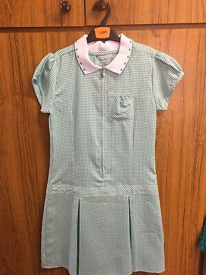 Girls Marks And Spencer M&S Gingham Summer School Green Dress 11-12 Years New
