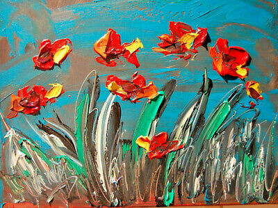 Floral MODERN ABSTRACT OIL PAINTING ON CANVAS  ORIGINAL  IMPRESSIONIST artist