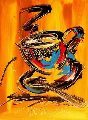 NICE COFFEE CUP    Abstract Modern CANVAS Original Oil Painting NR
