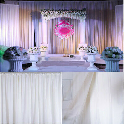 2.4m White Curtain Wedding Party Backdrop Silk Drape Draping Background Decor AU