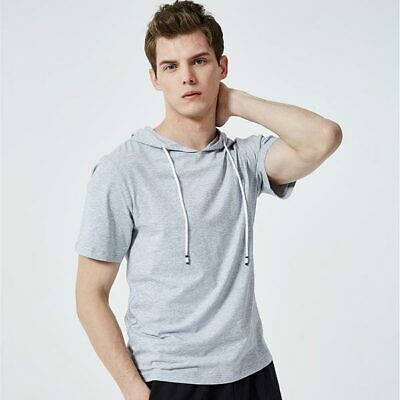 Hooded Hoodie Shirts Basic Short Sleeve Casual Slim Fit Mens Muscle Tops T-shirt