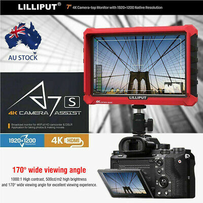 "LILIPUT A7S 7"" HD 1920*1200 IPS 4K Video Field Monitor For Canon DSLR Camera AU"