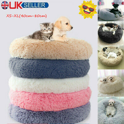 XL Comfy Calming Dog Cat Bed Round Warm Soft Plush Pet Bed Marshmallow Cat Bed