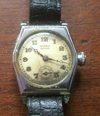 VINTAGE 1930's 'SUIZO' GENTS MANUAL WIND SWISS ART DECO WRISTWATCH