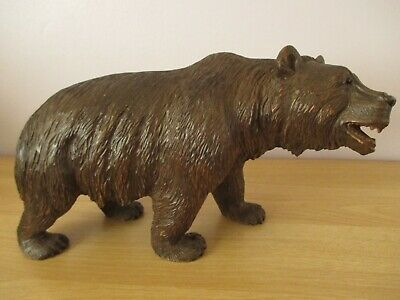 "Antique Large 15"" Black Forest Strolling Carved Bear Swiss Wood Carving"