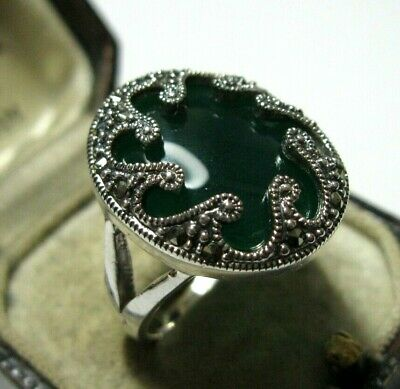 Vintage Style Art Deco Sterling Silver Marcasite Green Chalcedony Ring R 8.5