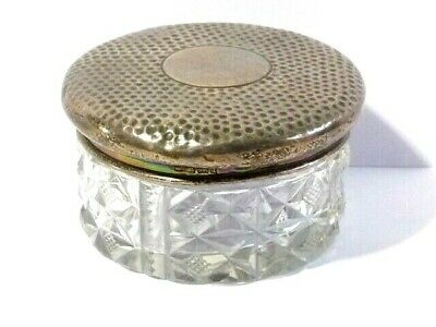 Antique 1903 Solid Silver Vanity / Toilet Jar Hammered Lid Cut Glass, Hob Nail