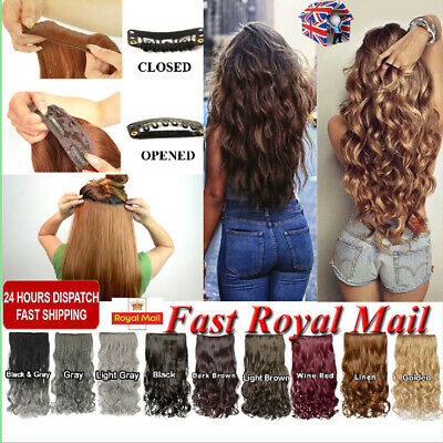 1/2/4pc Ombre Extra Thick Real Long Clip in Hair Extensions Curly Wavy Half Full