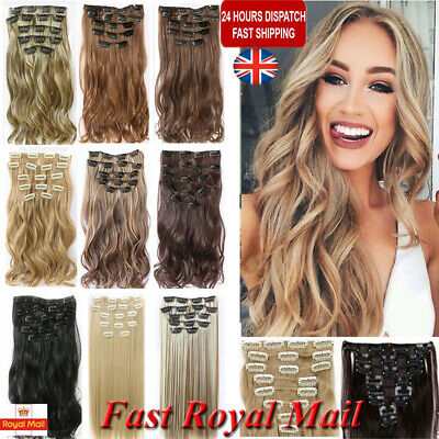 24'' Extra Thick Real Long Clip in Hair Extensions Curly Half Full Hair 16 Clips