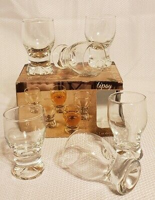 Circleware Tipsy Shot Glasses Set of 6 1.7 oz Clear, Limited Edition Whiskey Dri