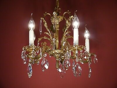 brass crystal old chandelier fixtures ceiling lamp antique 5 light heart shape