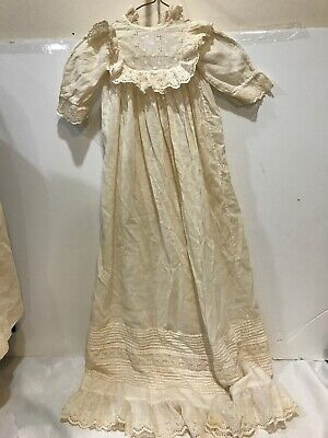 """#3 Vtg Baby Christening Dress 39"""" Long!! Lace Antique Ivory Cotton Pintuck"""