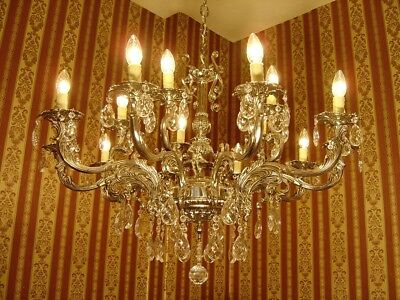 Large Silver Nickel Crystal Glass Chandelier Ceiling Lamp 15 Lights Used Decor
