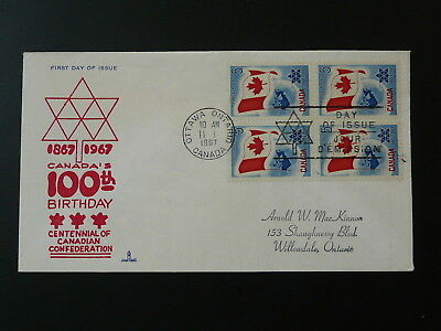 centennial of Canadian Confederation 1967 FDC block of 4 Canada 81418