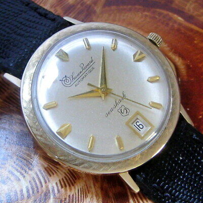 Mens Original 1960s Lucien Piccard SEA SHARK Automatic 10K YGF Date Swiss Watch