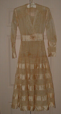 Antique Edwardian Dress - Silk Ribbons, Lace, Lawn - AS IS