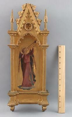 Antique Victorian Hand Carved Gold Gilt Wood Gothic Frame Italian Angel Painting