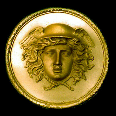 Hellenistic and Roman Hermes Mercury sculpture plaque in gold Finish