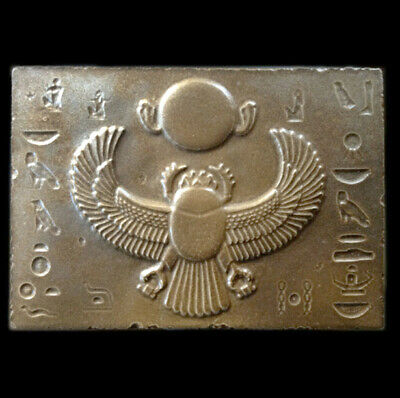 Winged Scarab - Ancient Egyptian sculpture Relief plaque Bronze Finish
