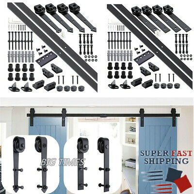 6/6.6/12Ft Iron Sliding Barn Double Door Hardware Closet Track Kit Hanger Rail
