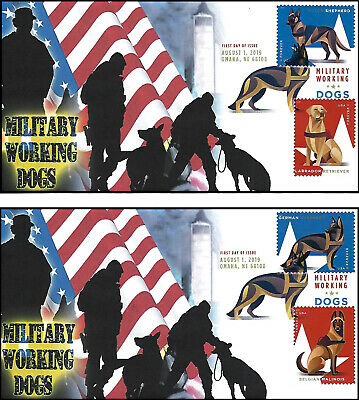 NEW 2019 U.S Military Working Dogs FDC set of 2 w/ Digital Color Postmark (DCP)